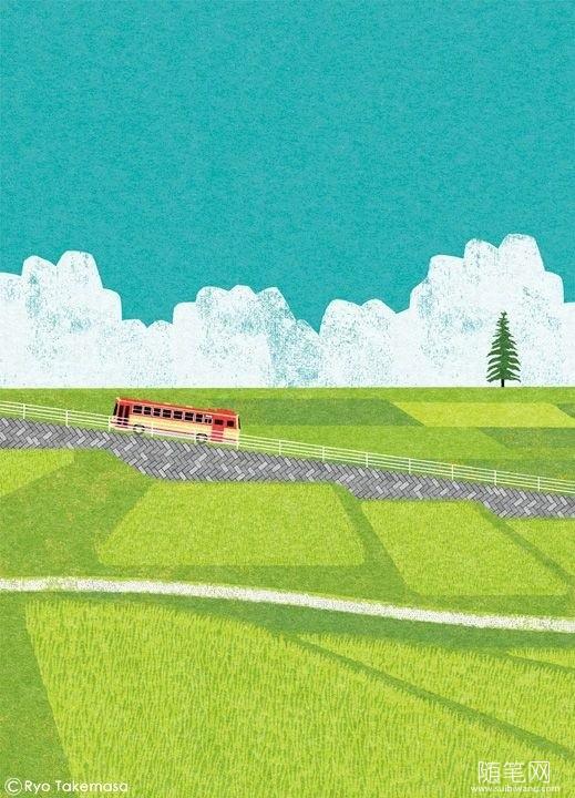 日本插画师Ryo Takemasa:路过四季,许你一个世外桃源