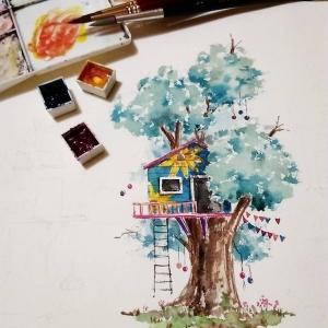 唯美的树屋插画
