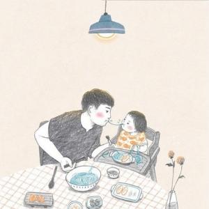 超暖心的父女插画