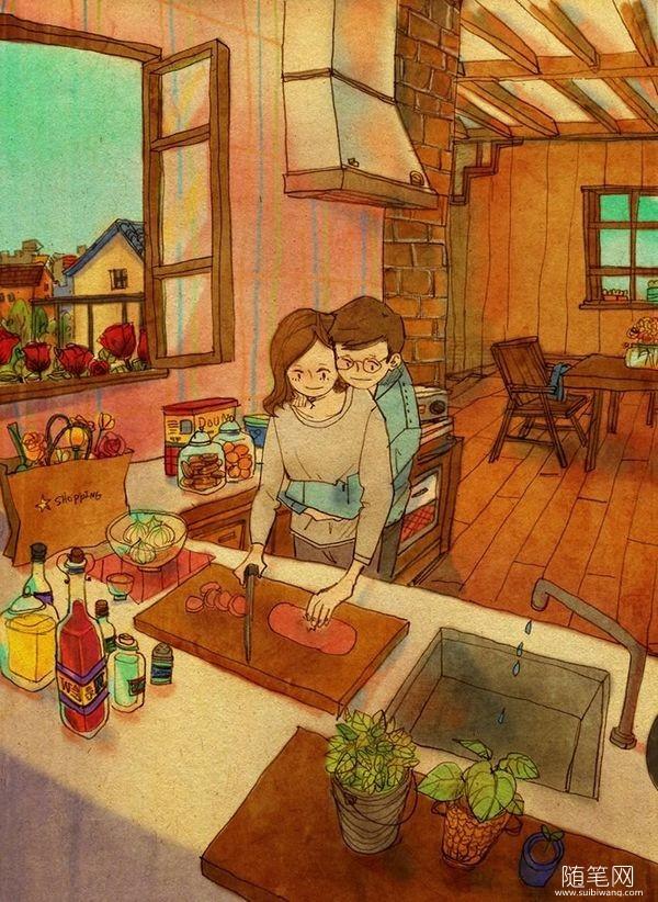 只想和你在一起,好暖的插画