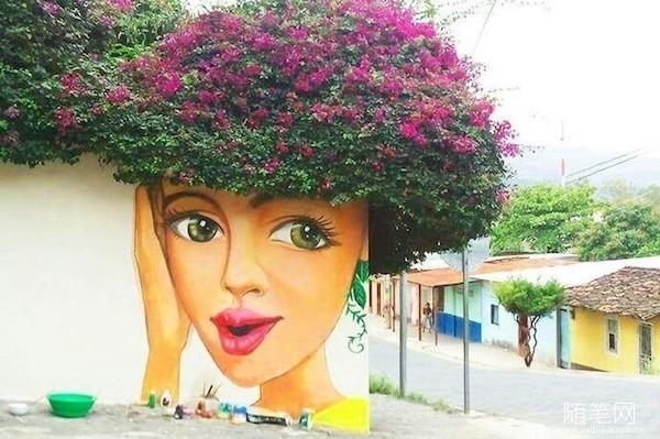 街头艺术与大自然的互动,简直太有创意了~ 