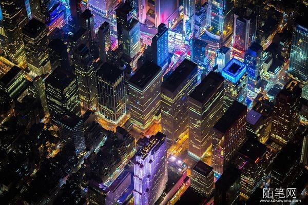 两千米高空俯拍纽约夜景